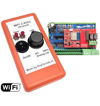 DIN rail WiFi receiving board with 0..10 v output and 2 relays